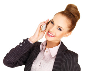 Happy businesswoman on her mobile