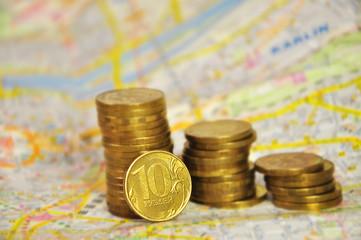 столбики монет на карте