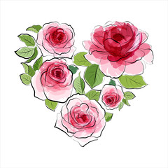 Heart of pink roses. Watercolor
