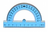 A half circle protractor marked in degrees