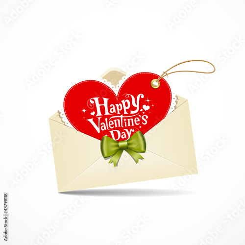 Envelope red heart and green ribbon valentine day