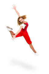 Happy young dancer jumping