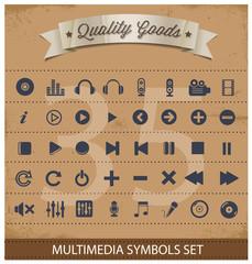 pictogram multimedia symbols set