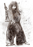Budo, Japanese martial art - watercolor imitation