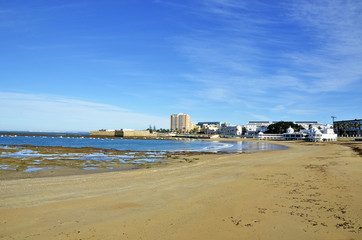 Landscape of the beach of La Caleta on the province of Cadiz