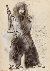 Budo, Japanese martial art - watercolor imitation, old paper