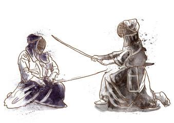 Budo, Japanese martial art - watercolor imitation