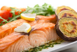 roasted salmon fillets with sweet potatoes