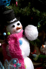 Little snowman with snowball