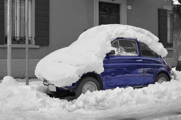Italian car in the snow