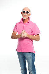 Funny expressive senior man with sunglasses. Isolated.