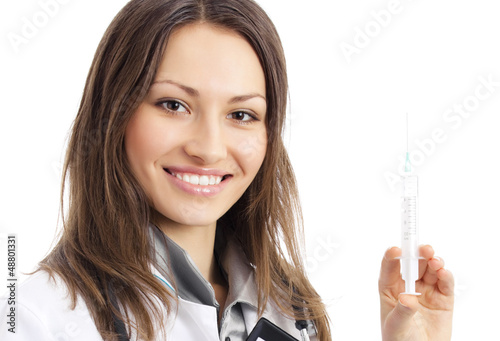 Doctor with syringe, over white