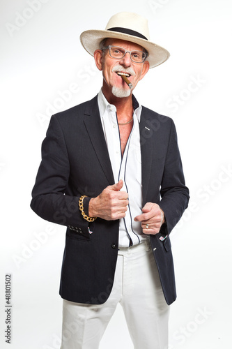 Gangster mafia man smoking cigar. Isolated on white.