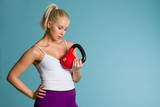 Girl and kettlebell