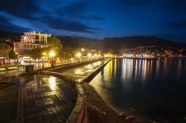 Night city near sea. Ukraine, Yalta