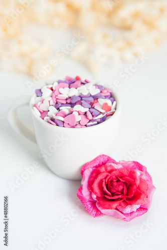 a cup with decorations