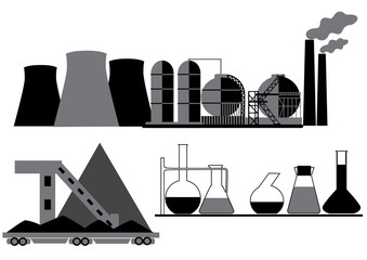 Objects the coal, chemical, oil industry isolated