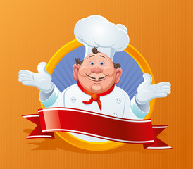 Smiling chef with a red ribbon