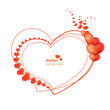 Abstract vector heart shaped frame with glossy hearts.