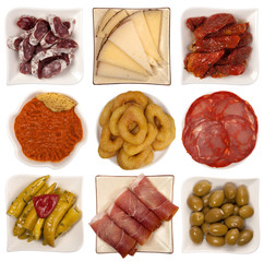 Spanish tapas isolated on white