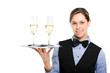 Waitress with champagne glasses