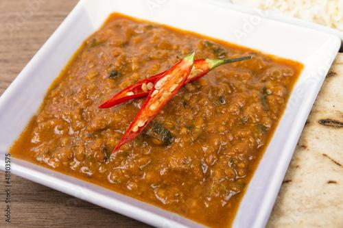 Keema Madras - Minced lamb curry with chilies, rice & chapati