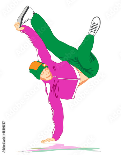 Break dancer isolated on white background - 48803587