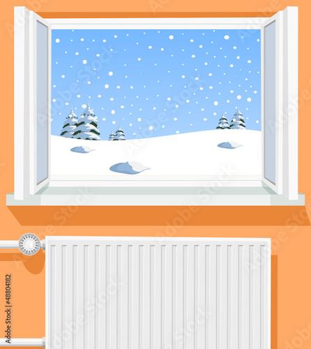 Winter scene through opened window, illustration - 48804182