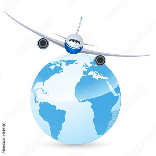 Weltreise (Flugzeug und Erdball)