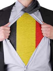 Business man with Belgian flag t-shirt
