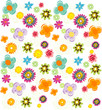 Colorful fresh summer flowers pattern in vector