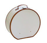 Round vintage suitcase isolated included on white