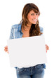 Woman holding an banner ad