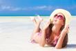 long haired girl in bikini on tropical boracay beach