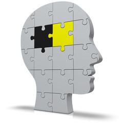 Kopf mit Puzzle Politik gelb schwarz