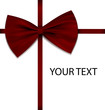 Red bow on ribbon with sample text