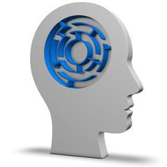 Kopf mit Labyrinth