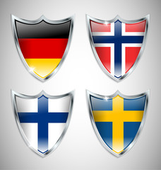 Set of Shield Flags 02
