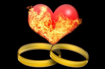 Brennendes Herz und Ringe