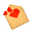 Envelope with valentine hearts