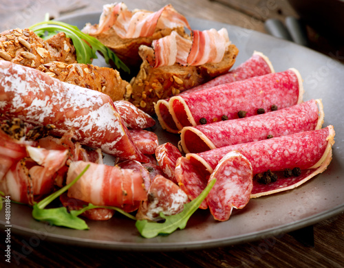 Sausage. Various Italian Ham, Salami and Bacon.  Meat Food