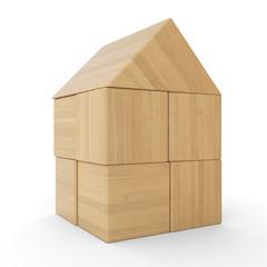 Kleines Holzhaus aus Bauklötzen isoliert