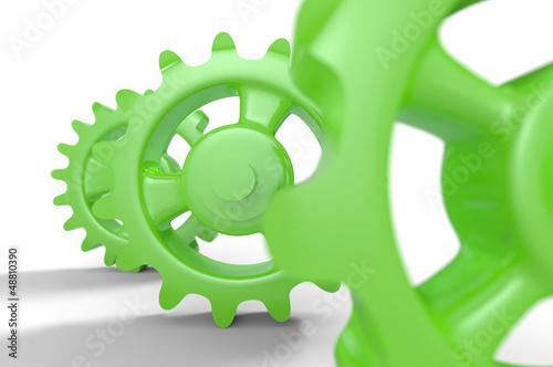Grüne Zahnräder isoliert 6