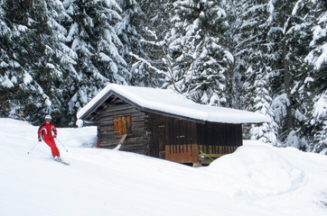 Unidentifiable skier passing a wooden cabin near a forest slope