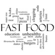Fast Food Word Cloud Concept in Black and white