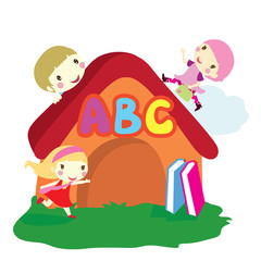 children and house background