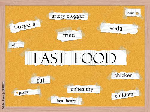 Fast Food Corkboard Word Concept