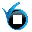 carré blanc sur bouton validé bleu