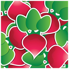 Green capsicum sticker card in vector format.