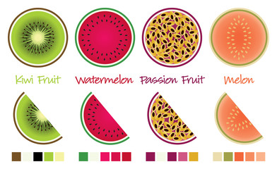 Fruit slices and wedges in vector format complete with swatches.